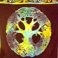 Celtic Tree of Life Tapestry Blues Greens  - Mellow Mood