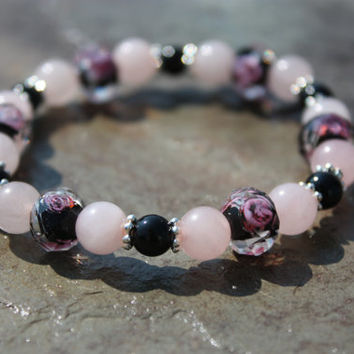 Heart Healing and Protection Rose Quartz and Obsidian with Czech Glass Rose Beads Stretch Bracelet