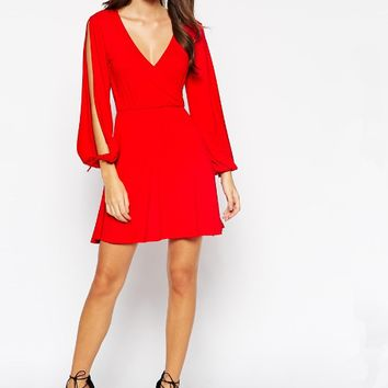 Solid V-Neck Slit Sleeve Dress