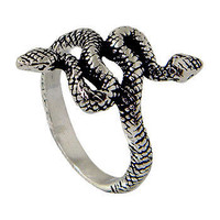 Twin Head Snake Ring made in Sterling Silver Ring/ Unisex sterling silver ring