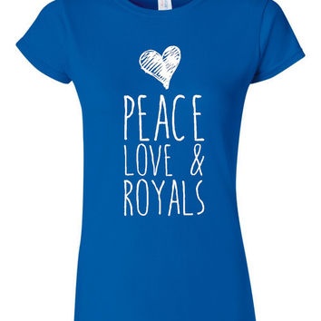 Playoff Baseball Fan T Shirt Peace Love And Royals Playoff Shirt Fun Shirt for Ladies