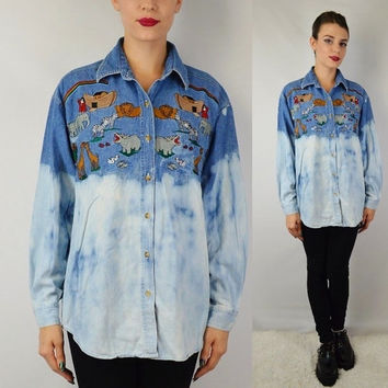 90s Denim Shirt Embroidered Jesus Freak Noahs Ark Bible Small - Medium Vintage Womens Clothing Animal Wildlife Children Sunday School