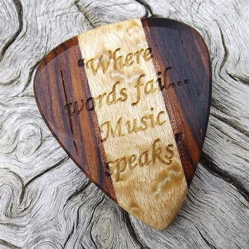 Handmade Premium Multi-Wood Guitar Pick - Laser Engraved - Actual Pick Shown - Engraved Both Sides - Artisan Guitar Pick