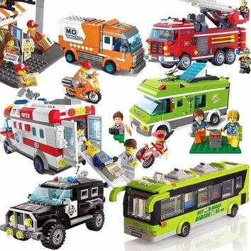 City Wrecker Police Sanitation Ice Cream Car Truck Building Blocks Sets Bricks Kids Toys Marvel Compatible Legoings City Friends