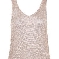 Metallic Yarn Vest - Rose Gold