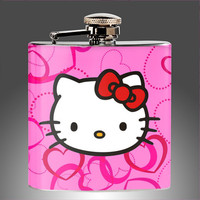 Hello Kitty Flask - Whiskey Flask, Personalized Flasks, flasks for women, bridesmaids gifts,bachelorette party 21st Birthday Gift  Hip Flask