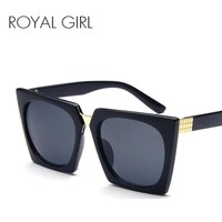 ROYAL GIRL Women square Sunglasses Vintage Acetate Black Sun glasses