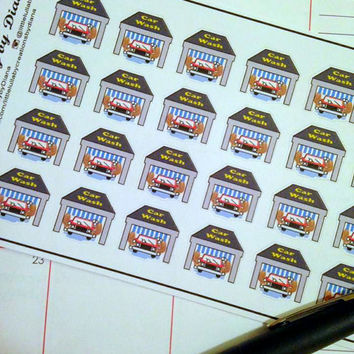 Set of 24 Car Wash Stickers   - Perfect for your planner or scrapbook