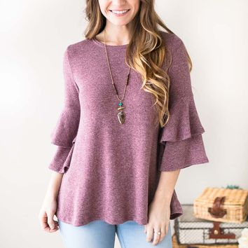 End Game Orchid Ruffle Sleeve Top