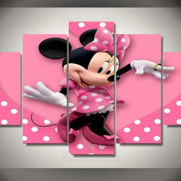 (on Sale) Minnie's Pink Heart Polka Painting On Canvas Free Shipping