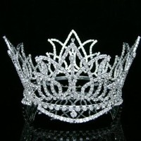 Full Crown Bridal Wedding Pageant Queen Rhinestone Crystal Tiara