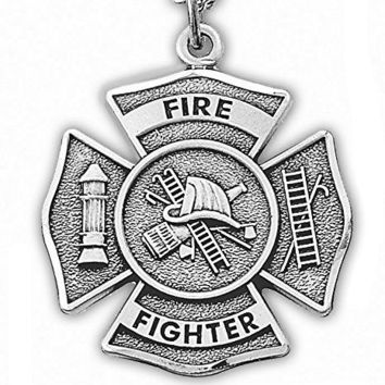 Sterling Silver Firefighter Medal Pendant Necklace