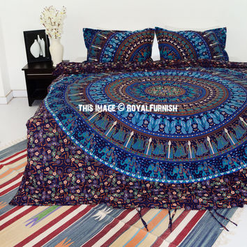 Blue Bohemian Elephant Camel Bedding Mandala Duvet Cover Set with 2 Pillow Cover on RoyalFurnish.com