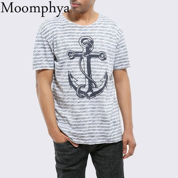 Striped men t shirt Anchor pattern print t-shirt men Hip hop Printed summer tops