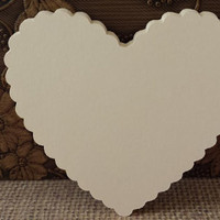 100 Large Ivory Die Cut Scallop Hearts, Bride And Groom Advice Cards, DIY Weddings, Escort Cards, Wish tags(3x2.75)