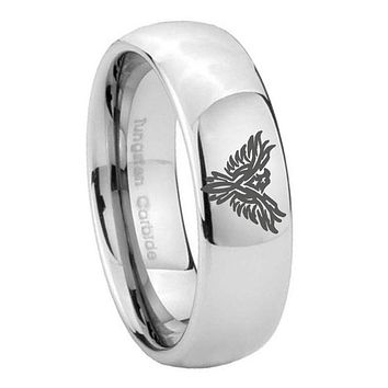 8MM Classic Mirror Dome Phoenix Tungsten Carbide Silver Engraved Ring