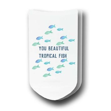 You Beautiful Tropical Fish - Custom Printed Women's No-Show Socks