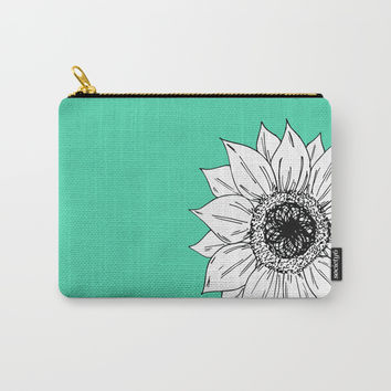 Green With Sunflower Carry-All Pouch by JustV