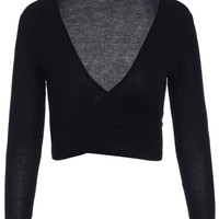 Solid Wrap Front Long Sleeve Crop Top