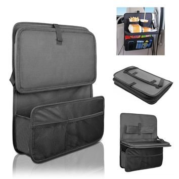 Car Seat Organizer / Travel Storage Bag / Auto Seat Back Organizer with Foldable Food Tray Table Mesh Pockets Drinks Holder