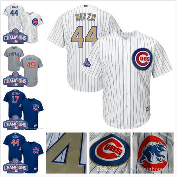2017 Men's Chicago Cubs Kris Bryant Anthony Rizzo Javier Baez Jake Arrieta Ernie Banks Russell Lester Ross Gold Program Baseball Jerseys