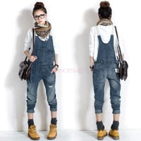 Elegant Women Washed Casual Jumpsuit Romper Overall Jean Frayed Denim Pant Jeans clothes 18218 = 1930286468