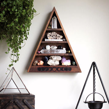 The Original Moon Phases Triangle Shelf for Crystal Display