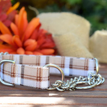 Martingale Collar - Beige Plaid Autumn Collar - Dog Collar - Unisex Dog Collar - Plaid - Brown Plaid - Burberry