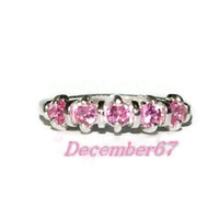 Pink Sapphire Band, Anniversary Band, Wedding Band, Sterling Silver