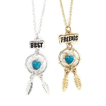 Claire's Accessories Girls Best Friends Silver and Gold Dream Catcher Pendant Necklaces Set of 2