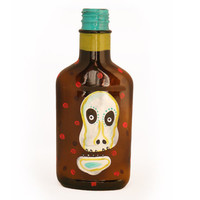 Skull Potion Flask - Day of the dead Sugar Skull Bottle - Original Art on a Flask - Man Cave Art