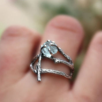 Rough Aquamarine gemstone branch ring raw uncut natural twig sterling silver statement handmade March Birthstone made to order