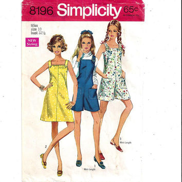 Simplicity 8196 Pattern for Misses' Dress or Mini-Pantdress or Pant Jumper, Size 10 From 1969, Vintage Sewing Pattern, Home Sewing, Culottes