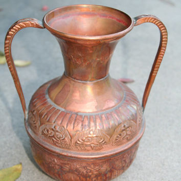 Copper Vase - Turkish Mark - Turkish Copper Vase - Ornate - Decorative - Vintage Copper Vase - Two Handles - Turkish Copper Designs