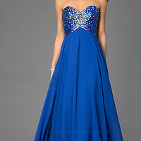Long Strapless Xcite Prom Dress