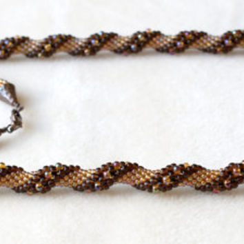 Beaded crochet Long necklace, rope, brown, gold, amber color, copper, seed bead jewelry, spiral