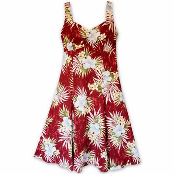 Hibiscus Isles Red Molokini Hawaiian Dress