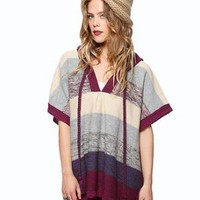 Colorblock Knit Poncho