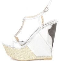 Silver Rhinestone T Strap Platform Wedges Faux Leather