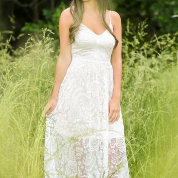 Just Say Yes White Lace Maxi Dress