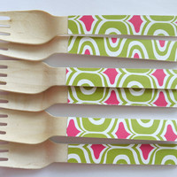 10 Wooden Forks -With Paper - Great Alternative To Plastic Utensils