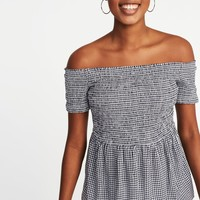Relaxed Off-the-Shoulder Smocked Top for Women |old-navy