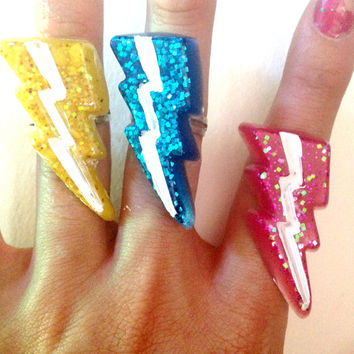 Glitter Lightning Rings//Geekery//Blue Yellow Pink//Stocking Stuffers//Cyber Monday