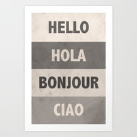 Hello Art Print by MN Art