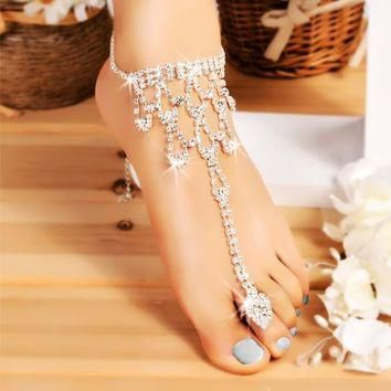 One Pair Crystal Barefoot Sandals Beach Wedding Foot Anklet
