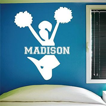 Custom Cheerleading Wall Decal, 0057, Personalized Cheerleader Wall Decal, Cheerleading Theme Wall Decal, Girls Room Vinyl Lettering