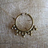 Brass Fake Septum Ring, Non Pierced Nose, Faux Nose Ring, Tribal Ethnic, Clip On, Indian Nose Ring