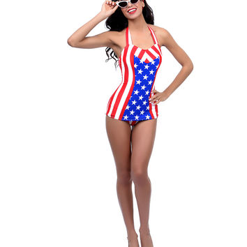 Red, White & Blue Stars & Stripes Clementine Halter Swimsuit