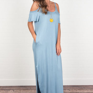 Close To Your Heart Maxi Dress, Chambray Blue