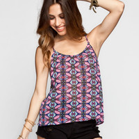 Patrons Of Peace Tile Print Womens Cami Pink  In Sizes